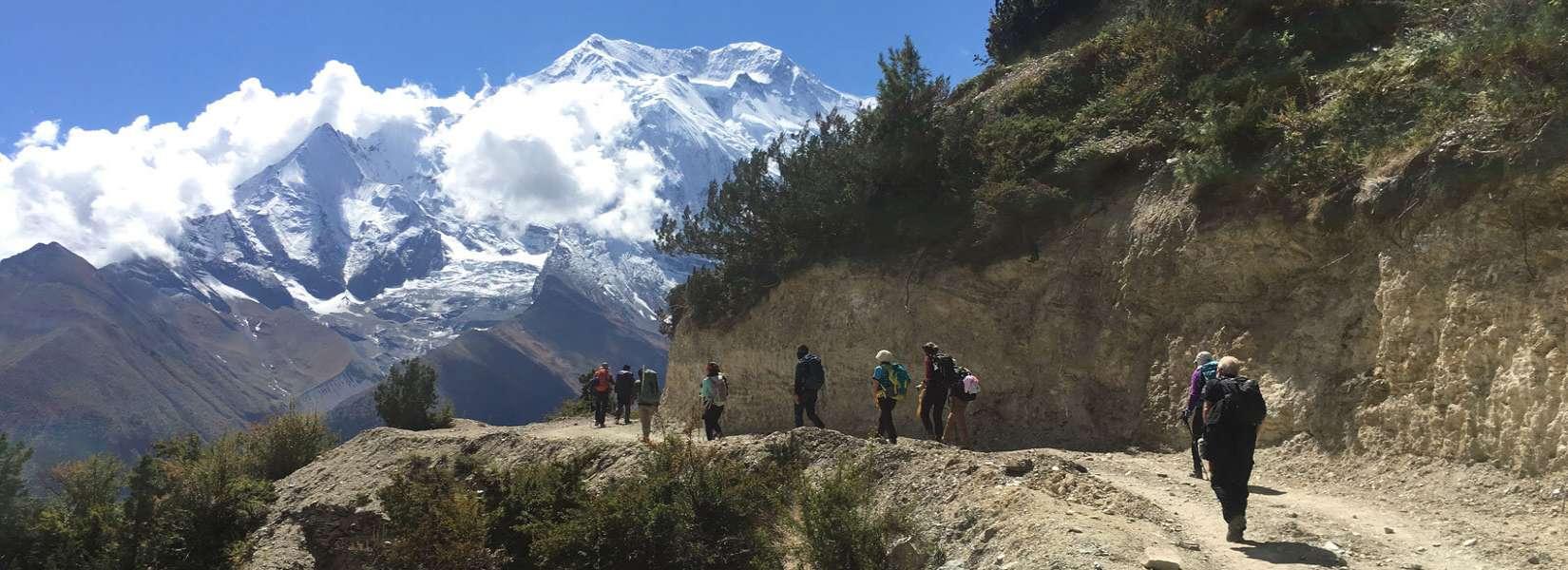 Trekkers doing the great Annapurna Circuit Trek