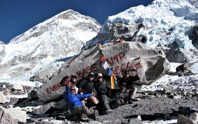 Trekkers enjoying their moment at Everest Base Camp